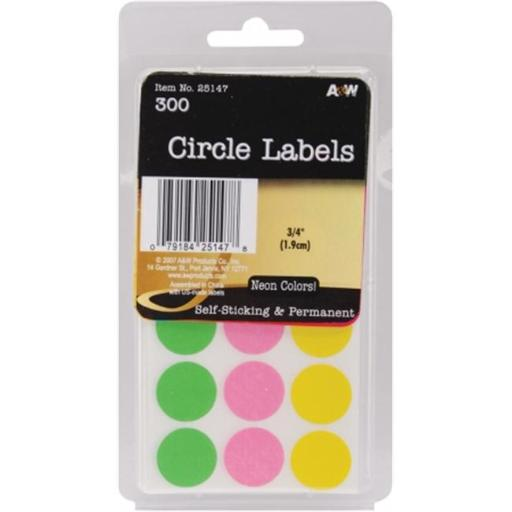 A & W Office Supplies AW251-47 Office Supplies Labels Neon Circles