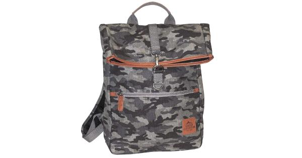 Buxton Men's Expedition Ii Huntington Gear Fold-Over Canvas Backpack Gray Camo