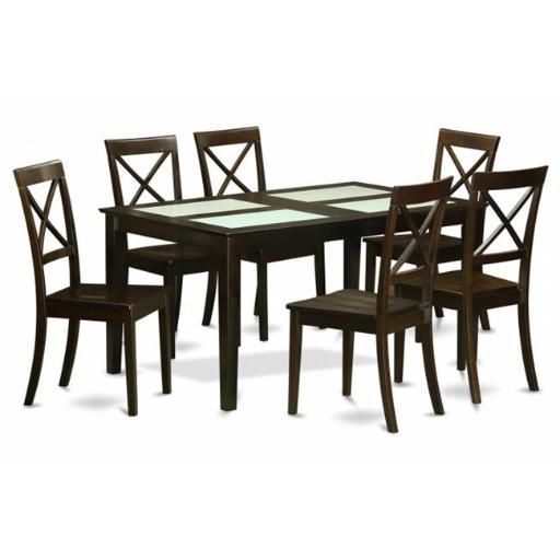 East West Furniture CABO7G-CAP-W 7 Piece Dining Table Set-Table With Glass Top Insert and 6 Dining Room Chairs