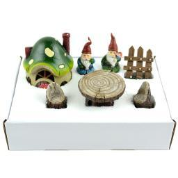 Fairy Garden Gnome Kit 7/Pkg-House, 2 Gnomes, Fence, Table, 2 Chairs 55209