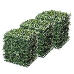 """Yescom 24-Pack 10""""x10"""" Artificial Boxwood Hedge Mat with Cable Ties UV Privacy Fence Screen Greenery Panel Outdoor Decor"""