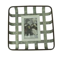 Galvanized Woven Metal Farmhouse Basket Hanging Picture Frame