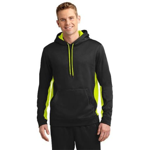 Sport-Tek ST235 Mens Sport-Wick Fleece Colorblock Hooded Pullover, Black & Safety Yellow - Small O2VJMYGLWFFQZQZM