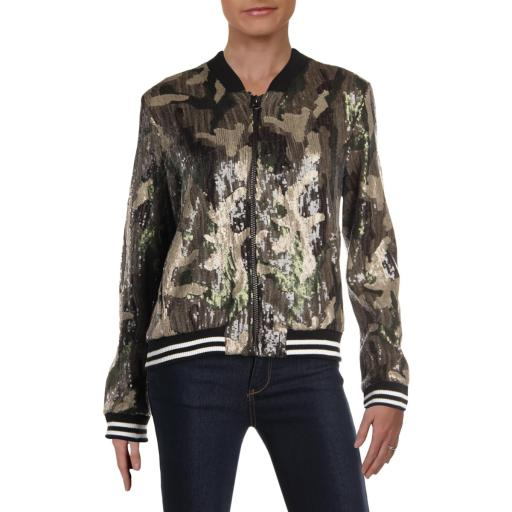 Aqua Womens Fall Sequined Bomber Jacket thumbnail