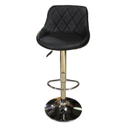 Black Diamond Check Set of 2  Round Seat Barstools Bar Chair Adjustable Swivel PU Seat