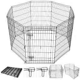 "Yescom 36"" Pet Dog Playpen Exercise Fence Cage Kennel Play Pen with Door 8 Panel Outdoor Indoor"