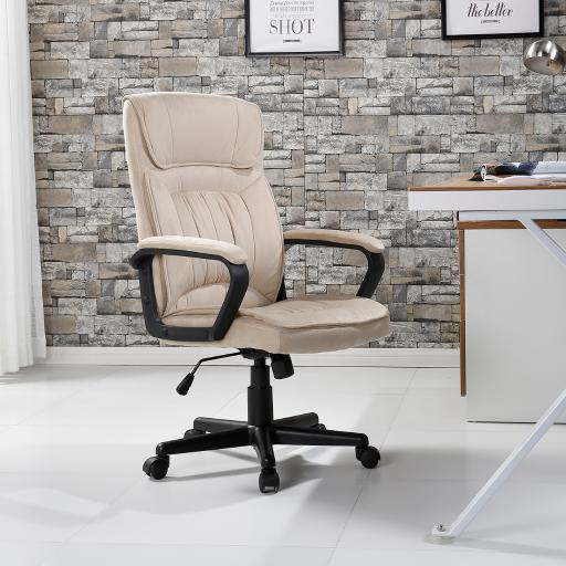 Belleze Executive Office Microfiber High Back Padded Lumbar Chair, Light Beige