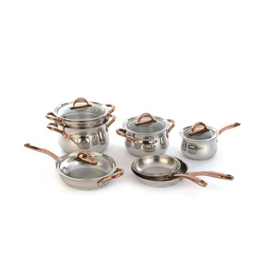 Berghoff 2211747 Ouro 18 - 10 Stainless Steel Cookware Set with Rose Gold Coated Handles & Glass Lids