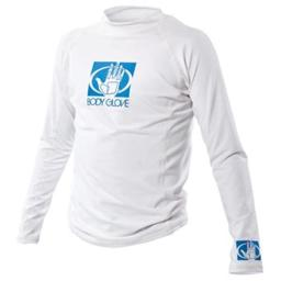 Junior Long Sleeve Fitted Rash Guard, White - Size 8