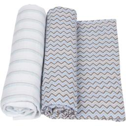 MiracleWare 3547 Blue & Gray Muslin Swaddle, 2 Pack