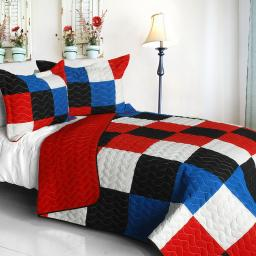 Chess 3PC Vermicelli-Quilted Patchwork Quilt Set-Full/Queen Size