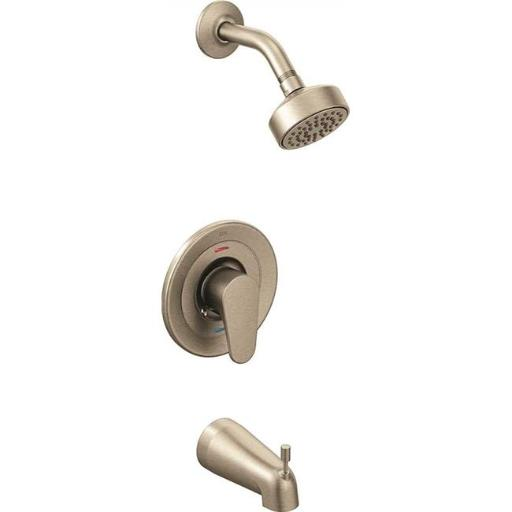 Cleveland Faucet Group 46301CBNGR 1.75 Gpm, Edgestone Single-Handle Bathtub & Shower Trim Kit with Water-Saving Showerhead, Brushed Nickel