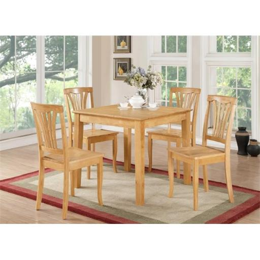 5 Piece Small Kitchen Table and Chairs Set-Square Dinette Table and 4 Kitchen Chairs
