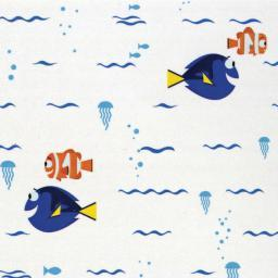 """Disney Finding Dory-camelot Design 44/45"""" Cotton 15yd D/r-swimming - White"""