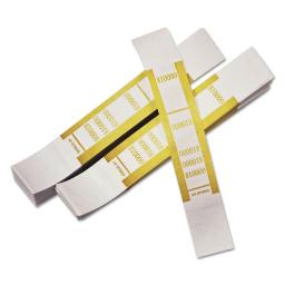 Self-Adhesive Currency Straps Mustard $10,000 In $100 Bills 1000 Bands Per Pack   1 Pack of: 1000
