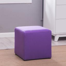 Belleze Modern Cube Ottoman Fabric Upholstered Small Square Stool Foot, Purple