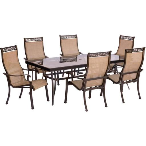 Hanover MONDN7PCG Monaco Dining Set with Sling Chairs & Glass Table - 7 Piece