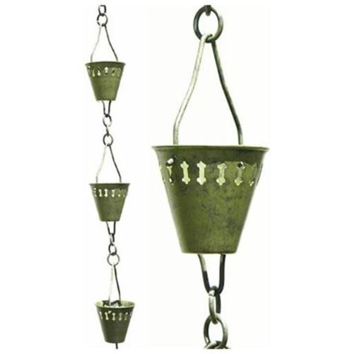 Patina Products R250H Verdigris Shade Cup Rain Chain - Half Length