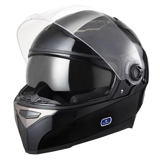 DOT Motorcycle Full Face Helmet Dual Visor ABS Scooter Street Bike Touring Black