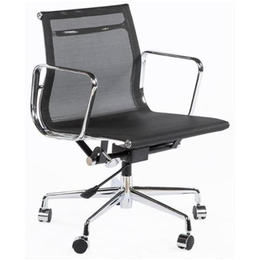 The Mid-Century Mesh Executive Office Chair, Chrome, Black - 31.89-34.25 in.