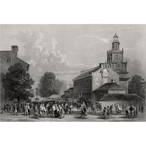 Posterazzi DPI1839428LARGE Old State House Philadelphia USA Erected 1735 From A 19th Century Print Engraved J Rogers Poster Print, Large - 36 x 24