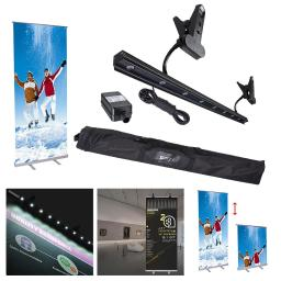 "Portable 32x79"" Retractable Adjustable Telescopic Roll Up Banner Stand LED Light Kit with Carry Bag Trade Show Display"