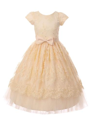 Little Girls Champagne French Chantilly Lace Bow Flower Girl Dress 2-6