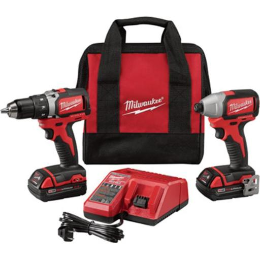 Milwaukee 48476 M18 Brushless Compact Cordless 0.50 in. Drill & Driver & 0.25 in. Hex Impact Driver Combo Kit with 2 Batteries, Model No. 2798-22CT