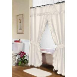 Carnation Home Fashions FSCD-L-08 72 x 72 in. Lauren Double Swag Shower Curtain, Ivory