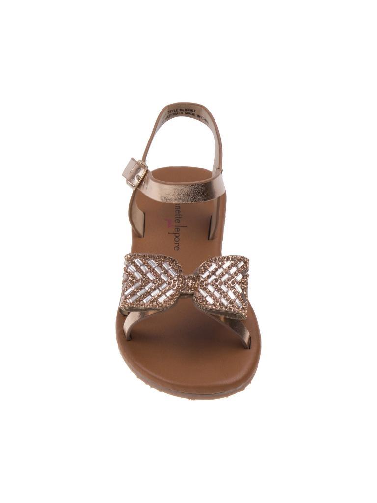 1e854a5e3770 Nanette Lepore Nanette Lepore Girls Rose Gold Glitter Bow Applique Buckle  Sandals 11-4 Kids