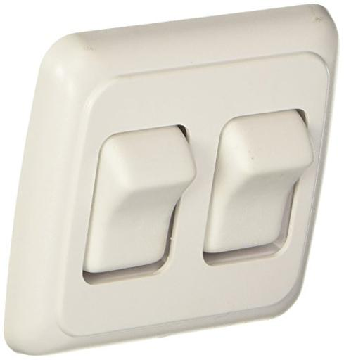 Contoured Wall Switch Wht Dbl On/Off- Spst -Cut-Out 1-5/8Inh X 2-7/16Inw - In