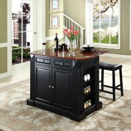 "Crosley Drop Leaf Breakfast Bar Top Kitchen Island in Black Finish with 24"" Black Upholstered Saddle Stools"