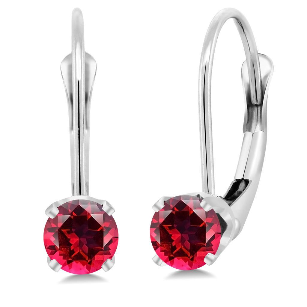 14K White Gold Earrings Set with Round Blazing Red Topaz from Swarovski