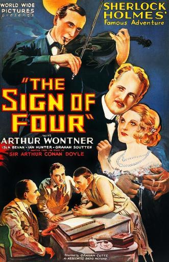The Sign Of Four Us Poster Art Clockwise From Top: Arthur Wontner As Sherlock Holmes Ian Hunter As Dr. Watson Isla Bevan Graham Soutten Edgar.