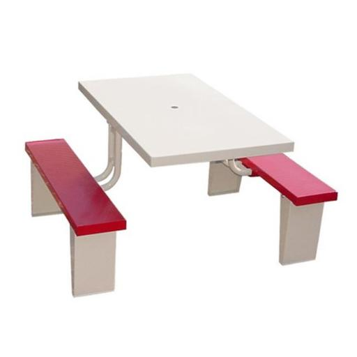 Prairie View PIC2848-R 4 Seats Aluminum Rectangular Picnic Table, Red - 30 x 28.5 x 48 in.
