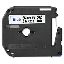 Brother international corporat mk233 labels - non-laminated tape - blue on white - roll (0.47 in x 26.3 ft)