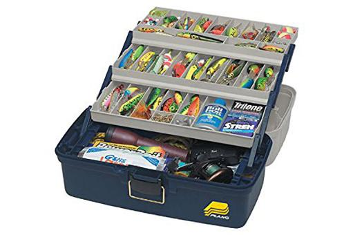 Frabill 613306 frabill three-tray fixed compartment tackle box – xtra large – blue/silver