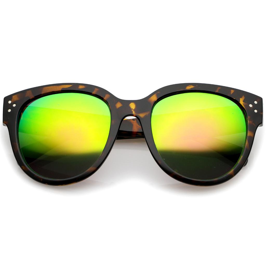 fa60d94f5e Women s Oversize Horn Rimmed Colored Mirror Lens Cat Eye Sunglasses 56mm