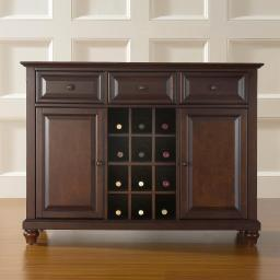 Crosley Cambridge Buffet Server / Sideboard Cabinet with Wine Storage in Vintage Mahogany Finish