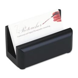 Wood Tones Business Card Holder  Capacity 50 2 1/4 x 4 Cards  Black