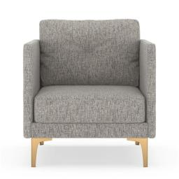 NyeKoncept 50060506 Tate Armchair Pebble Weave - Heathered Taupe with Brass Finish