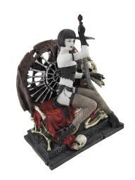 Gothic Lady Warrior with Sword on Skull and Bone Throne Statue