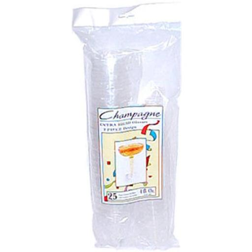 Tablemate Products TM04CG 2 Piece Party Expressions Clear Plastic Champagne Glasses - 4 oz, Pack of 20