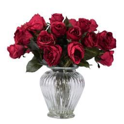 Vickerman F12183 Red Rose Arrangement Everyday Floral - 16 in.