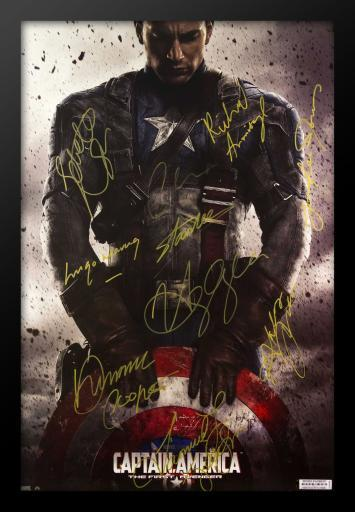 Captain America First Avenger - Cast Signed Movie Poster in Wood Frame QOIXN2ZKIDKLMFSZ