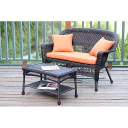 Jeco W00201-LCS016 Espresso Wicker Patio Love Seat And Coffee Table Set With Orange Cushion