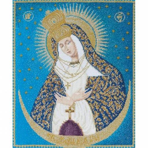 Thea Gouverneur TG530A Our Lady Of The Gate On Aida Counted Cross Stitch Kit-9.25 in. X11.25 in. 18 Count