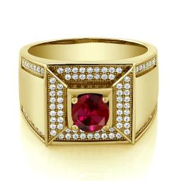 Gem Stone King Build Your Own Ring - Personalized Birthstone Ring in 18K Yellow Gold Plated Silver Men's Ring