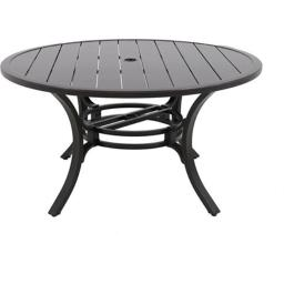 Portica L1248RD-01-FPCN Center Ring Slats Outdoor 48 in. Round Dining Table, Black
