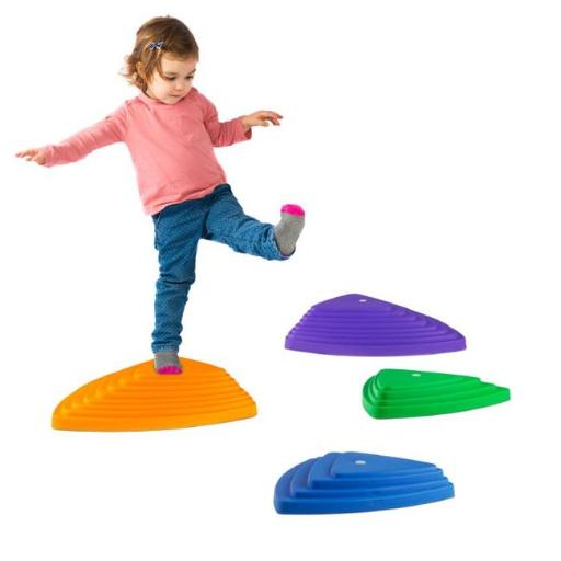 Hey Play M350069 Triangular Stepping Stones - Assorted Color, Set of 6